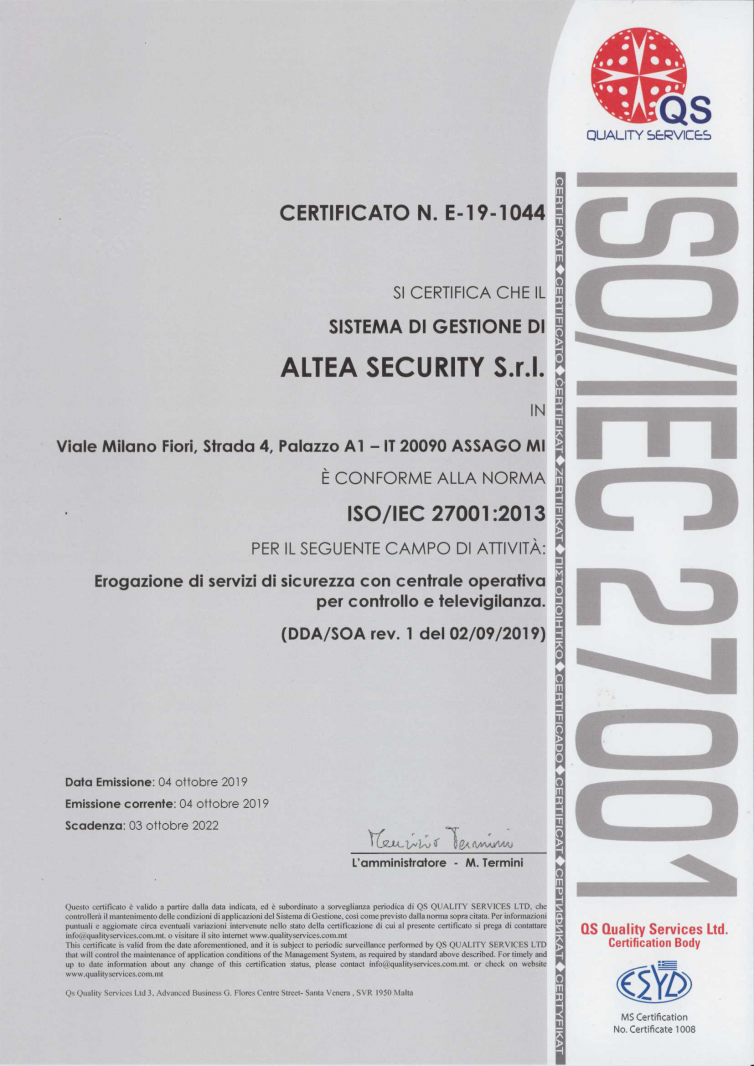 Certificato QS ALTEA SECURITY 27001